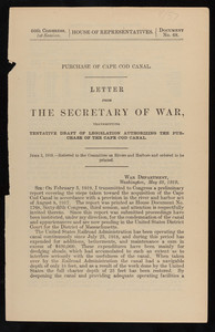 """Letter from the Secretary of War"""