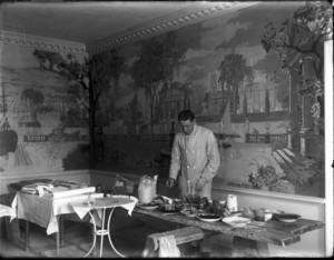 George Porter Fernald at work on Hamilton House mural