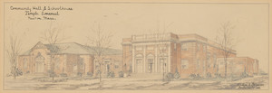Perspective of Temple Emanuel, Community Hall and Schoolhouse, Newton, Mass., 1952