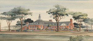 Perspective drawing of Memorial Community Building, Winchendon, Mass., undated