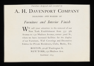 Clipping - A. H. Davenport Company advertisement