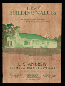 1950 building supply catalogue, L.C. Andrew lumber and building materials, L.C. Andrew, South Windham, Maine
