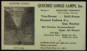Trade card for the Quechee Gorge Camps, Inc., Route 4, Quechee, Vermont, undated
