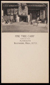 Postcard for Pine Tree Camp, Plymouth and Bournedale, Mass., 1920s