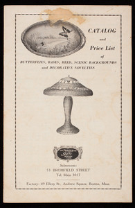 Catalog and price list of butterflies, bases, reed, scenic, backgrounds and decorative novelties, The Frazer Co., 53 Bromfield Street, Boston, Mass., 1924