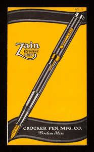 Zain Crocker Pen, Crocker Pen Mfg. Co., Boston, Mass.