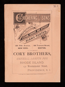 Chickering & Sons, manufacturers of grand, square and upright piano-fortes, 130 Fifth Avenue, New York and 156 Tremont Street, Boston, Mass.