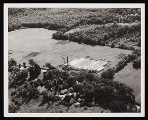 Aerial view of Meader's Greenhouses, Buck River Road, Dover, New Hampshire