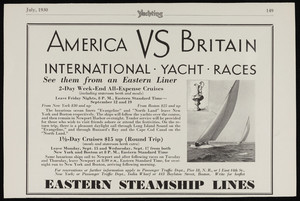 "Advertisement, ""America VS Britain,"" Yachting Magazine, July, 1930"