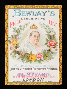 Bewlay's descriptive price list, Bewlay & Co., 49,74, 156 Strand and 143 Cheapside, London, England