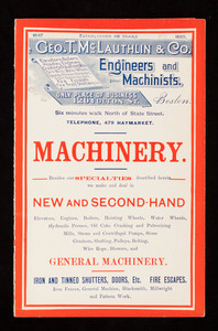 Geo. T. McLauthlin & Co., engineers and machinists, machinery, new and second-hand, 120 Fulton Street, Boston, Mass.