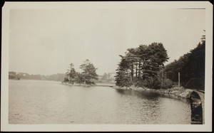 View of the railroad tracks along Spruce Creek and Ten pine Road with the Hotel Pepperrell in distance, Kittery Point, Maine.