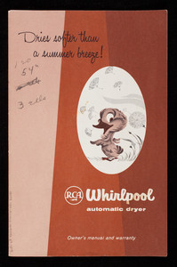 Dries softer than a summer breeze! RCA Whirlpool Automatic Dryer, owner's manual and warranty, Whirlpool Corporation, St. Joseph, Michigan
