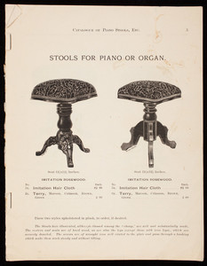 Catalogue of piano stools, etc., Tonk & Company, Chicago, Illinois, 1890s