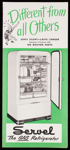 Different from all others, Servel the gas refrigerator, Servel, Inc., Evansville, Indiana, 1948