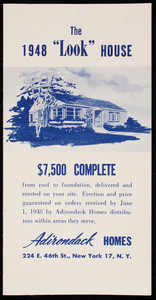 1948 Look House, $7,500 complete, Adirondack Homes, 224 East 46th Street, New York, New York, 1948