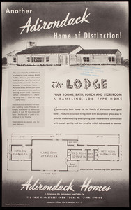 Another Adirondack home of distinction! The Lodge, Adirondack Homes, a division of the Adirondack Log Cabin Co., 126 East 45th Street, New York, New York, 1947