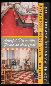 Colorful, decorative floors at low cost, Johns-Manville Asphalt Tile, Johns-Manville, 22 East Fortieth Street, New York, New York, 1944