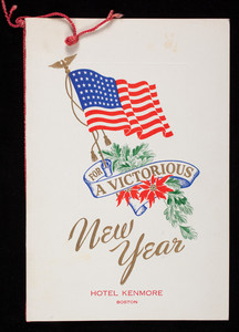 For a victorious new year, menu, Hotel Kenmore, 496 Commonwealth Avenue, Boston, Mass.
