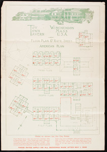 Toy Town Tavern floor plan & rate sheet, American plan, Winchendon, Mass.