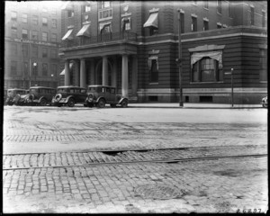 Exterior view of Boston City Hospital Relief Station, Haymarket Square, Boston, Mass., May 27, 1931