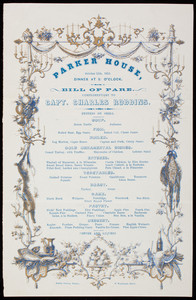 Bill of fare, complimentary to Capt. Charles Robbins, October 11th, 1855, Parker House, Boston, Mass.