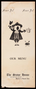 Hear ye! hear ye! Our menu, Stowe House, Brunswick, Maine