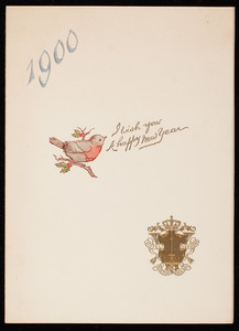 I wish you a happy New Year, dinner menu, Hotel Vendome, Boston, Mass., January 1, 1900