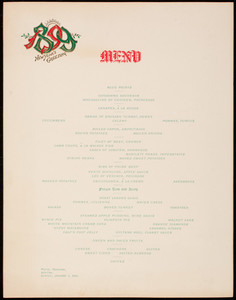 New Year's greeting, dinner menu, Hotel Vendome, Boston, Mass., January 1, 1899