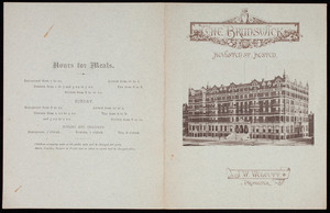 Menu, New Year's dinner, The Brunswick, Boston, Mass., January 1, 1879