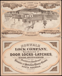 Trade card, Norwalk Lock Company, manufacturers of door locks, latches, knobs, escutcheons and other builders hardware, also genuine and imitation bronze goods, South Norwalk, Connecticut