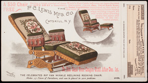 Trade card, Rip Van Winkle Reclining Rocking Chair, P.C. Lewis Manufacturing Co., Catskill, New York