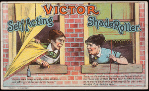 Trade card, Victor Self Acting Shade Roller, location unknown