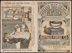 Trade card, Buffalo Gas Heating Flat Iron for families, tailors, hatters, dress & cloak makers, E.A. Burrows & Co., Troy, New York