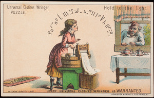 Trade card, buy the Universal Clothes Wringer, Metropolitan Washing Machine Co., New York, New York