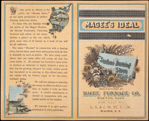 Magee's Ideal Surface Burning Stove, manufactured by Magee Furnace Co., Boston, Mass.