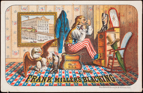 Trade card, Frank Miller's Blacking, prepared by Frank Miller & Sons, New York, New York