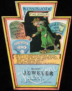 Trade card, Bundy, jeweler, 90 Genesee Street, Auburn, New York