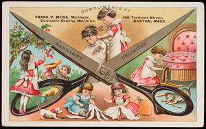 Trade card,compliments of Frank P. Moss, manager, Domestic Sewing Machine, 160 Tremont Street, Boston, Mass.