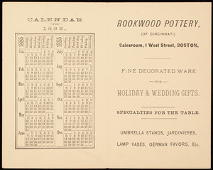Trade card, Rookwood Pottery of Cincinnati, salesroom, 1 West Street, Boston, Mass.