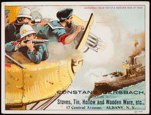 Trade card, Constans Gersbach, dealer in stoves, tin, hollow and wooden ware, etc., 17 Central Avenue, Albany, New York