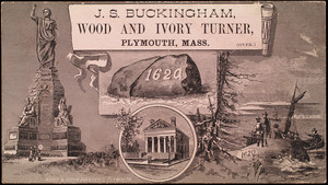 Trade card, J.S. Buckingham, wood and ivory turner, Plymouth, Mass.