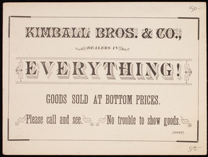 Trade card, Kimball Bros. & Co., dealers in general merchandise, Sanford, Maine