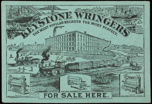 Trade card, Keystone Wringers for sale here, manufactured by F.F. Adams & Company, Erie, Pennsylvania