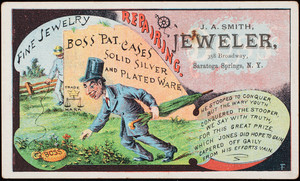 Trade card, Boss Patent Cases, J.A. Smith, jeweler, 358 Broadway, Saratoga Springs, New York