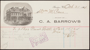 Billhead for C.A. Barrows, Owen's Block, Barton, Vermont, dated October 21, 1905