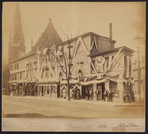 Exterior view of commercial buildings decorated for the National Encampment, August 12, 1890, Meridian Street, East Boston, Mass.