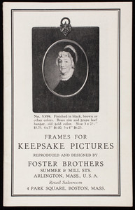 Frames for keepsake pictures, reproduced and designed by Foster Brothers, Summer & Mill Streets, Arlington, Mass.