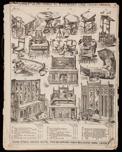 Illustrated catalog of gothic and other artistic domestic furniture, fittings, decorations, upholstery, and metal work, Cox & Sons, London, England