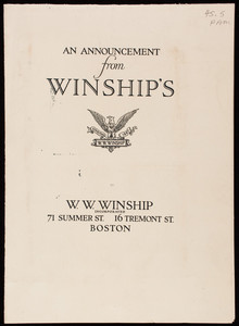 Announcement from Winship's, W.W. Winship, Inc., 71 Summer Street, 16 Tremont Street, Boston, Mass.